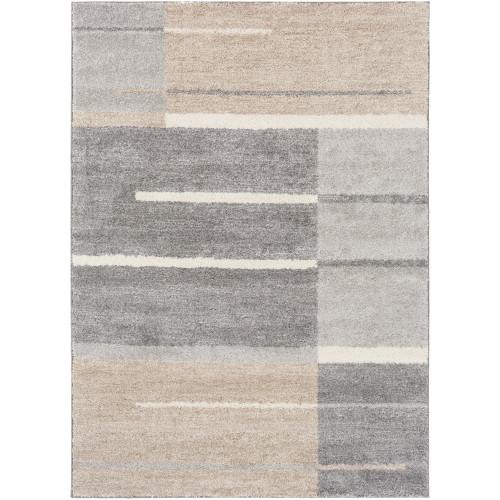 2' x 3' Faded Barricade Slate Gray, Taupe Brown and Fog White Area Throw Rug - IMAGE 1