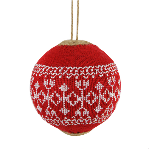 "Red and White Snowflake Nordic Christmas Ball Ornament 4"" (100mm) - IMAGE 1"