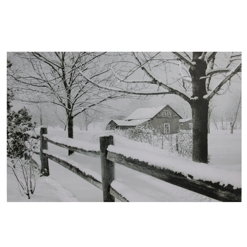 "Fiber Optic Lighted Snowfall Country Rustic Farmhouse Christmas Canvas Wall Art 11.75"" x 15.75"" - IMAGE 1"