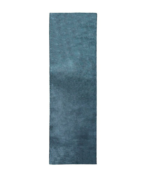 2.5' x 8' Solid Navy Blue Hand Loomed Area Throw Rug Runner - IMAGE 1