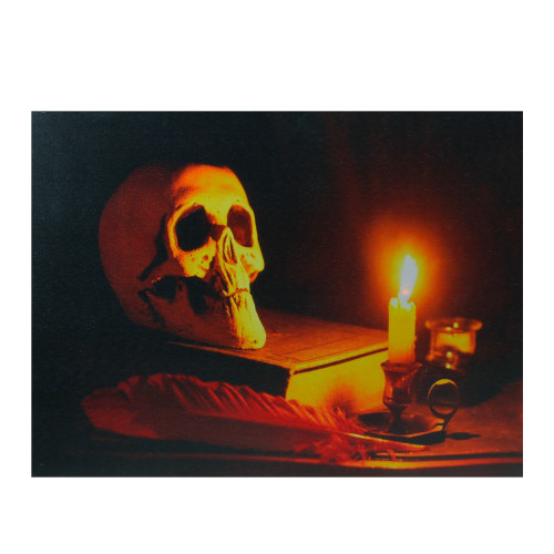 """LED Lighted Skull by Flickering Candlelight Halloween Canvas Wall Art 12"""" x 15.75"""" - IMAGE 1"""