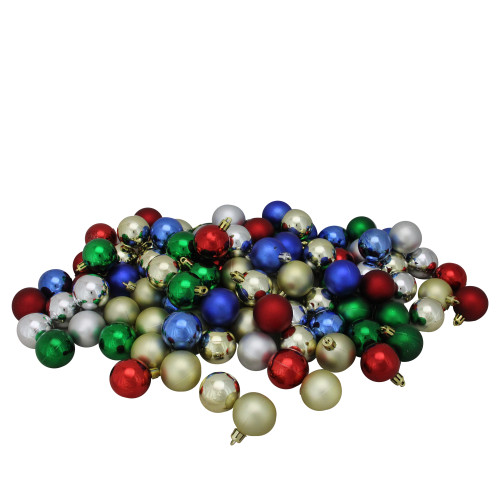 """96ct Vibrantly Colored Shatterproof 4-Finish Christmas Ball Ornaments 1.5"""" (40mm) - IMAGE 1"""