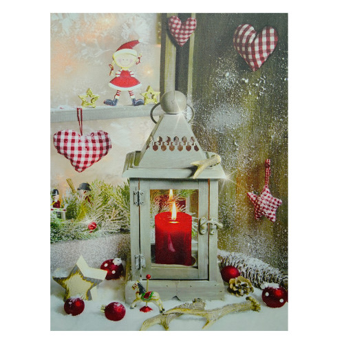 """LED Lighted Cozy Country Lantern Christmas Canvas Wall Art 11.75"""" x 12"""" - IMAGE 1"""