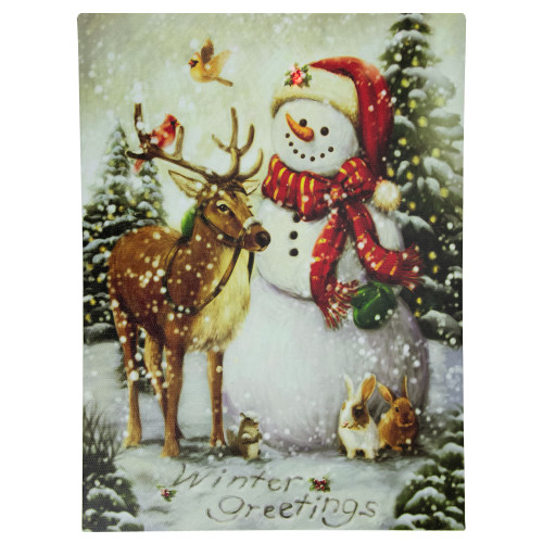 "LED Lighted Snowman and Reindeer Christmas Canvas Wall Art 15.75"" x 11.75"" - IMAGE 1"