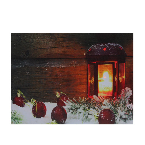 """LED Lighted Candle Lantern in the Wintry Outdoors Christmas Canvas Wall Art 12"""" x 15.75"""" - IMAGE 1"""