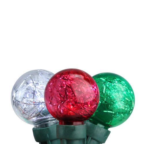 Set of 25 Red, Green, and Pure White Tinsel Wide Angle LED G30 Globe Christmas Lights - 16 ft Green Wire - IMAGE 1