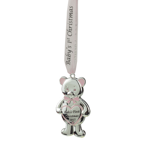 """3.25"""" Silver and Pink """"Baby's First Christmas 2015"""" Bear Hanging Ornament - IMAGE 1"""