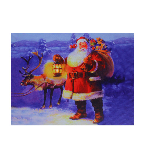 """LED Lighted Santa Claus with Reindeer Christmas Canvas Wall Art 11.75"""" x 15.75"""" - IMAGE 1"""