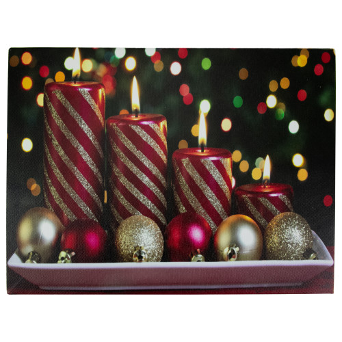"""Red and White LED Lighted Christmas Candles with Ornaments Canvas Wall Art 11.75"""" x 15.75"""" - IMAGE 1"""