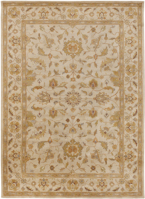 10' x 14' Beige and Khaki Green Wool Area Throw Rug - IMAGE 1