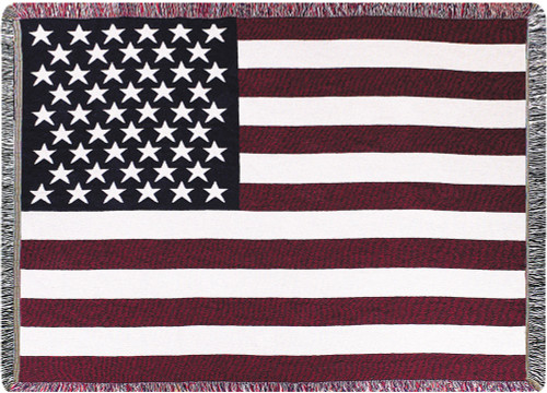 """White and Burgundy Red American Flag Tapestry Throw Blanket 50"""" x 60"""" - IMAGE 1"""
