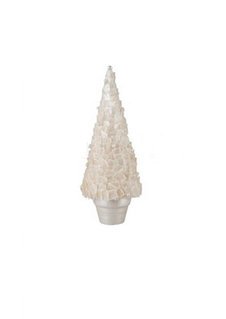 """10"""" White Pearl Embellished Potted Christmas Tree Tabletop Decor - IMAGE 1"""