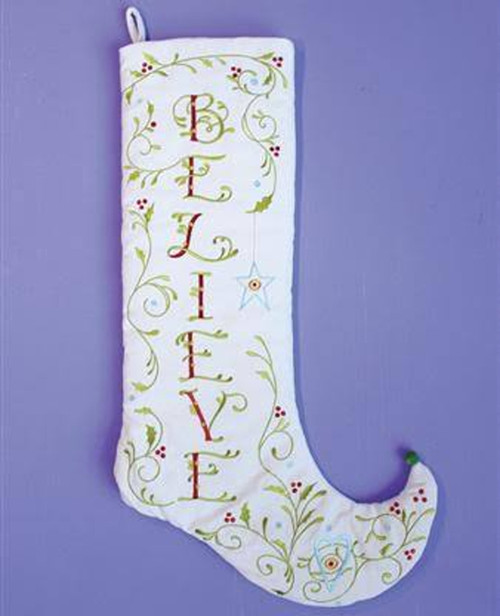 """28"""" White and Green Embroidered Christmas Stocking - IMAGE 1"""