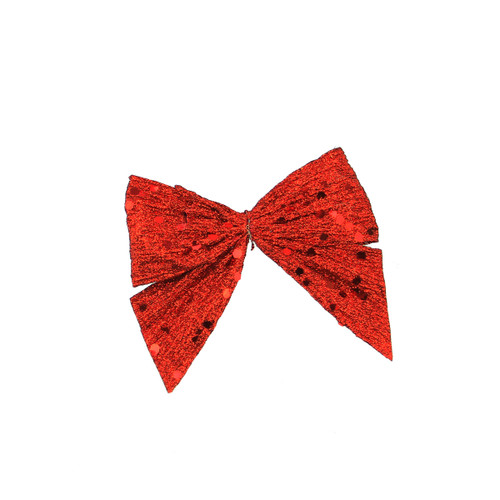 """3.5"""" Red Glittered Sequin Clip-On Bow Christmas Ornament - IMAGE 1"""