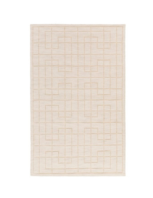3.5' x 5.5' Cream White and Ash Gray Hand Tufted Rectangular Area Throw Rug - IMAGE 1