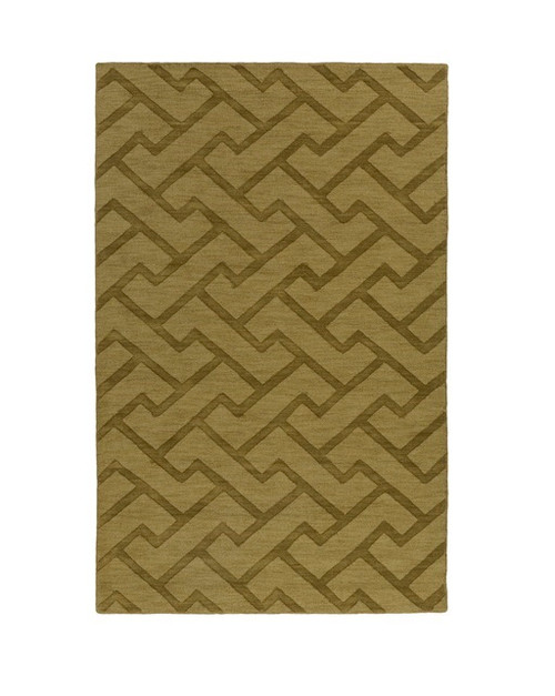 3.5' x 5.5' Olive Green and Tan Brown Hand Tufted Rectangular Area Throw Rug - IMAGE 1