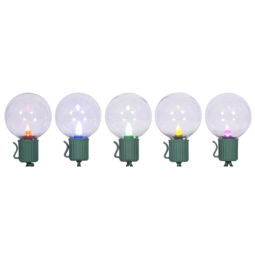 10 Multi-Color LED G40 Globe Christmas Lights - 7.5 ft Green Wire - IMAGE 1