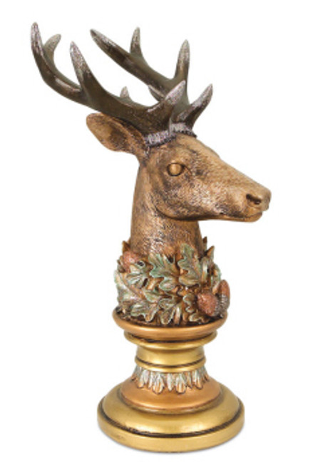 """12"""" Bronze and Gold Deer Head Finial Table Top Christmas Decoration - IMAGE 1"""