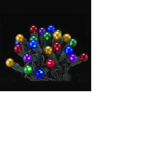 50 Multi-Color LED Pearl Glass G15 Berry Christmas Lights - 16.5 ft Green Wire - IMAGE 1