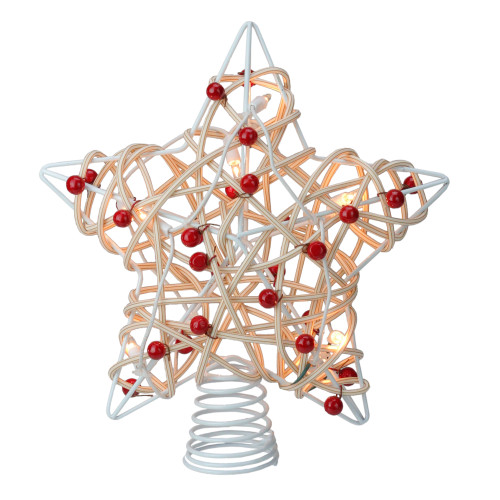 12 Lighted White Birch Berry Star Christmas Tree Topper - Clear Lights - IMAGE 1