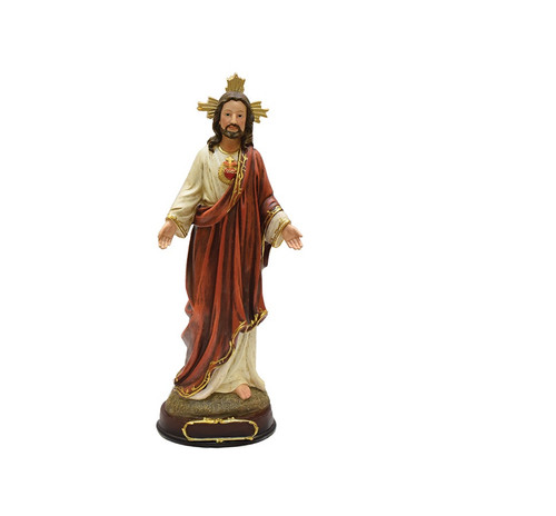 """12"""" Ivory and Brown Sacred Heart of Jesus Religious Christmas Tabletop Figurine - IMAGE 1"""