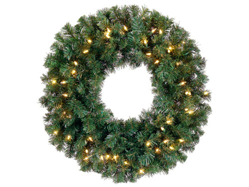 """12"""" Pre-Lit Deluxe Windsor Pine Artificial Christmas Wreath - Clear Lights - IMAGE 1"""