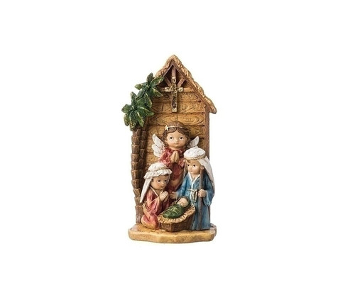"""8"""" Brown and Blue Children's Nativity Scene Christmas Tabletop Decoration - IMAGE 1"""