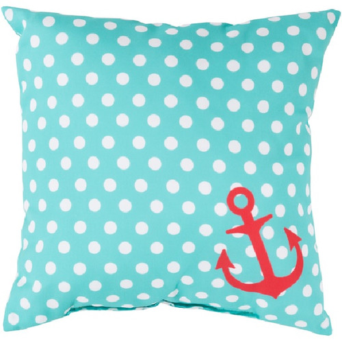 "20"" Blue and Red Contemporary Square Throw Pillow Cover with Polka Dots - IMAGE 1"