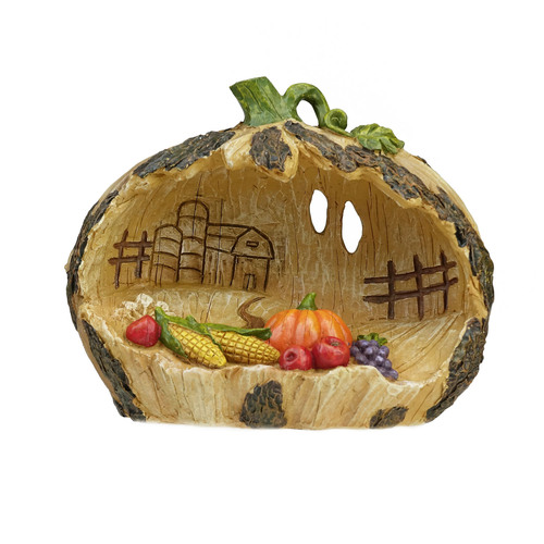 "7.5"" Green and Brown Carved Pumpkin Country Scene with Corn Thanksgiving Tabletop Decor - IMAGE 1"