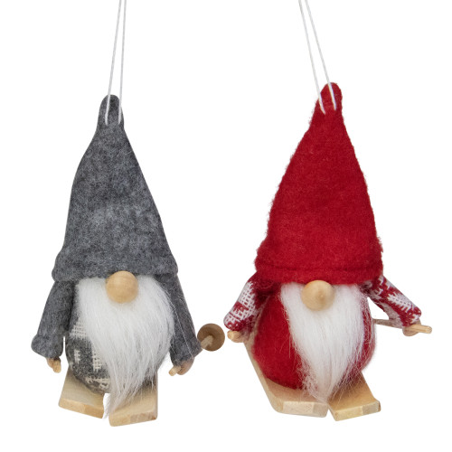 "Set of 2 Gray and Red Skiing Santa Christmas Gnome Ornaments 4"" - IMAGE 1"