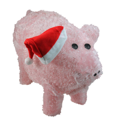 "28"" Pink and Red LED Lighted Pig Christmas Outdoor Decoration - IMAGE 1"