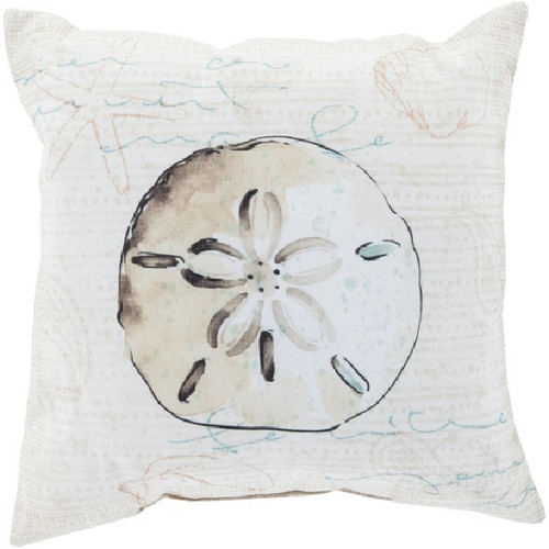"18"" Creamy Beige and Brown Sand Dollar Contemporary Square Throw Pillow Cover - IMAGE 1"