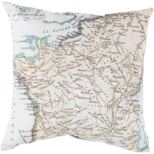 """20"""" Sea Blue and Brown Global France Contemporary Square Throw Pillow Cover - IMAGE 1"""