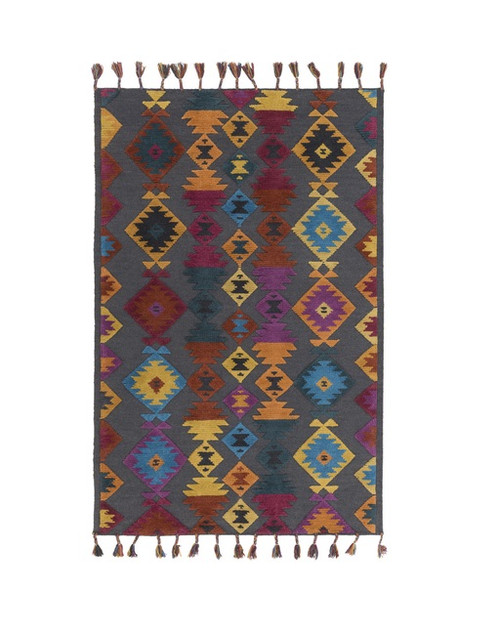 9' x 13' Iroquois Creations Jean Blue, Ruby Red and Aqua Blue Wool Area Throw Rug - IMAGE 1