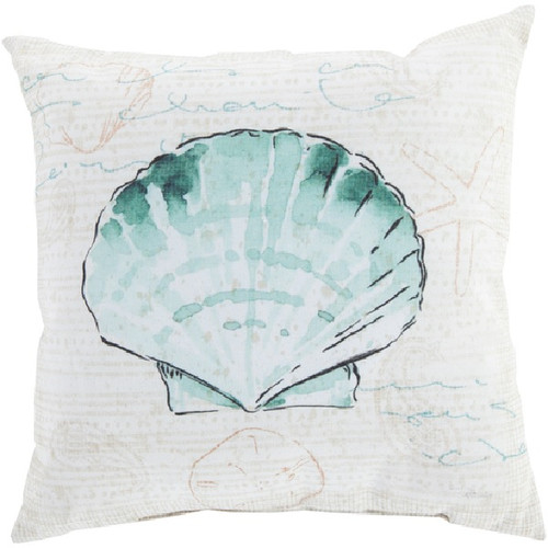 """26"""" Sea Green and Beige Clam Shell Contemporary Square Throw Pillow Cover - IMAGE 1"""