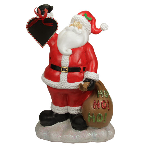 "19"" Red Santa Holding Toy Sack and Blackboard Christmas Statue - IMAGE 1"