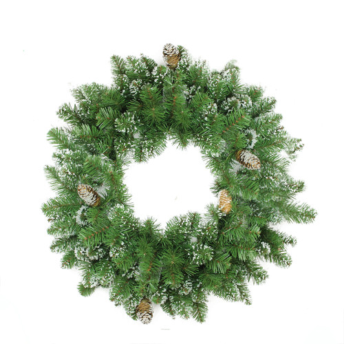Frosted Mixed Pine and Pine Cone Artificial Christmas Wreath - 24-Inch, Unlit - IMAGE 1