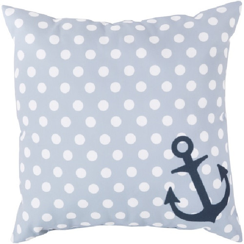 "20"" Light Gray and Blue Contemporary Square Throw Pillow Cover with Polka Dots - IMAGE 1"