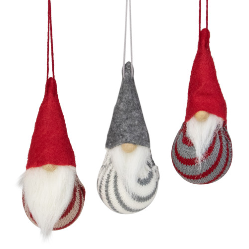 "Set of 3 Red and Gray Santa Gnome Christmas Ornaments 4.75"" - IMAGE 1"