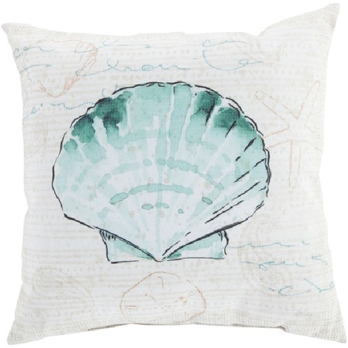 """18"""" Sea Green and Beige Clam Shell Contemporary Square Throw Pillow Cover - IMAGE 1"""