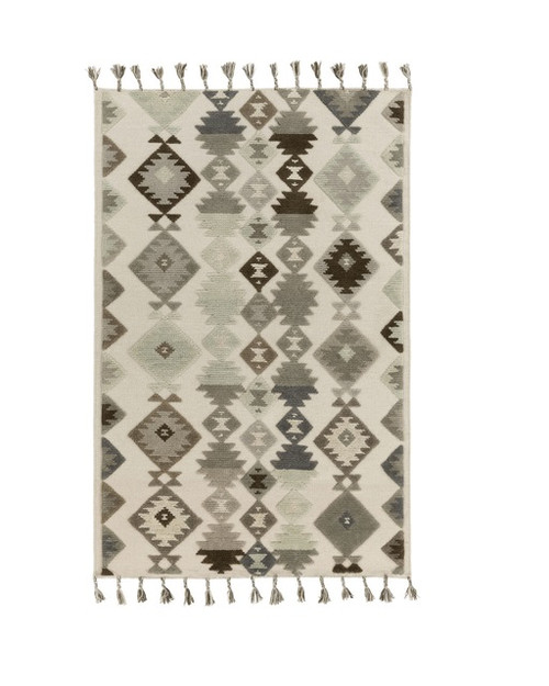 9' x 13' Iroquois Creations Wheat and Coffee Brown Hand Woven Wool Area Throw Rug - IMAGE 1