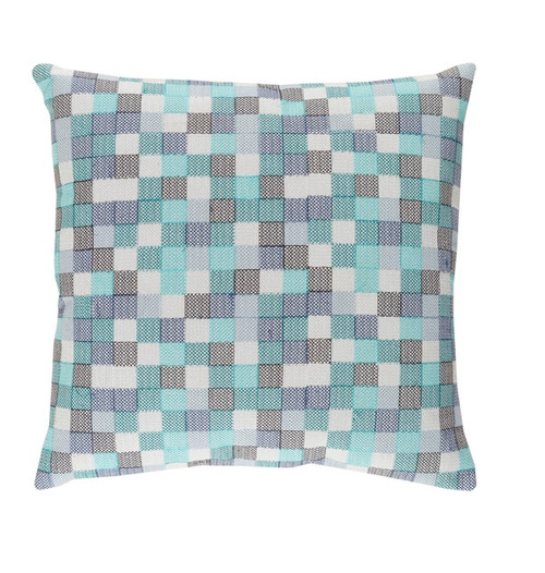 """20"""" Blue and Gray Contemporary Embroidered Square Throw Pillow - Down Filler - IMAGE 1"""