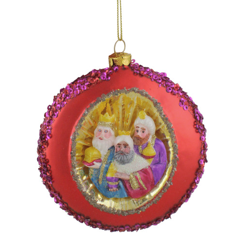 """4"""" Three Wise Men Sequin Religious Glass Disc Christmas Ornament - IMAGE 1"""