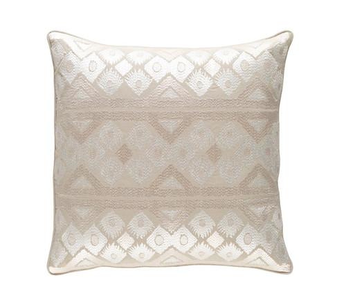 """22"""" Linen White and Cream White Square Chevron Throw Pillow - Down Filler - IMAGE 1"""
