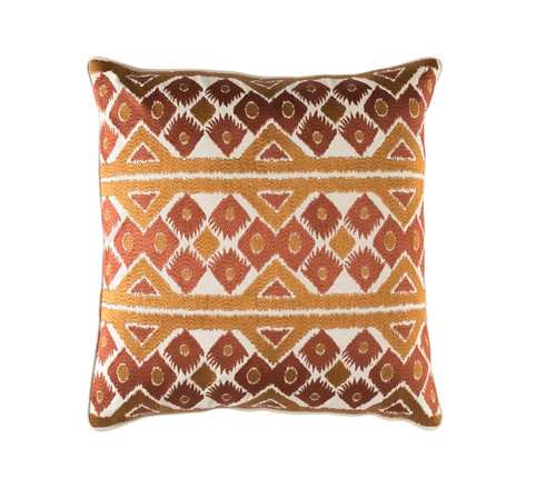 "22"" Coffee Brown and Caramel Brown Square Chevron Throw Pillow - Down Filler - IMAGE 1"