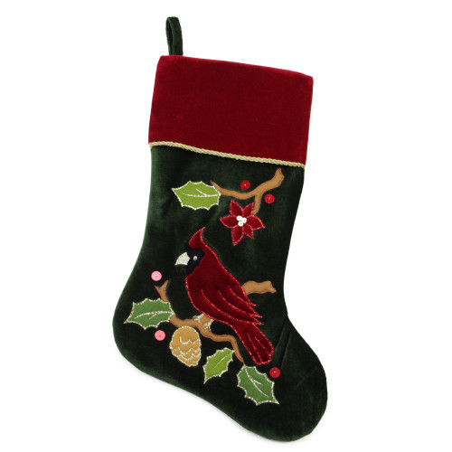"""20.5"""" Red and Green Cardinal Embroidered Christmas Stocking - IMAGE 1"""