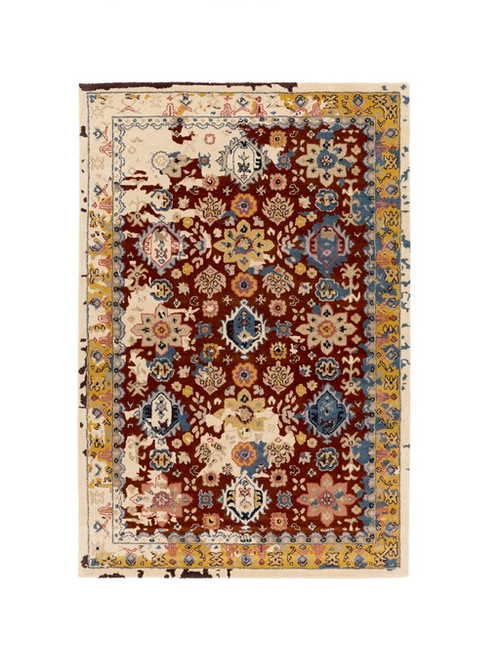 9' x 13' Red and Indigo Blue Floral Hand Tufted Rectangular Area Throw Rug - IMAGE 1