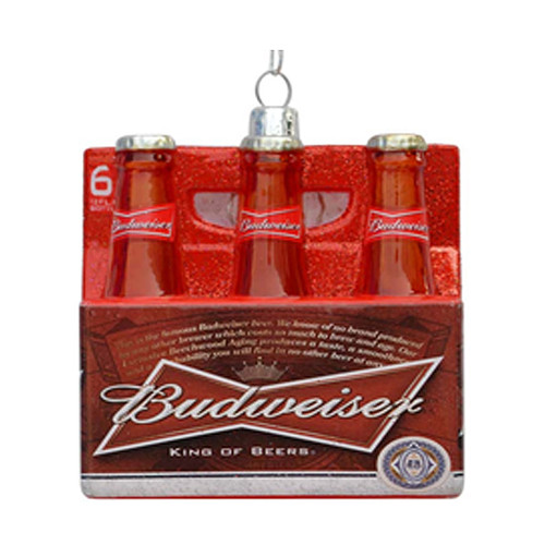 "3.5"" Red and White Budweiser Glass Beer Bottle Ornament - IMAGE 1"