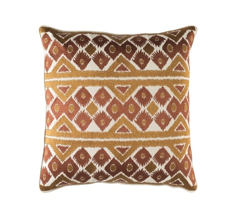 """20"""" Coffee Brown and Caramel Brown Square Chevron Throw Pillow - IMAGE 1"""