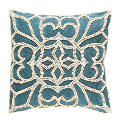 """18"""" Blue and White Square Machine Embroidered Throw Pillow - Down Filler - IMAGE 1"""